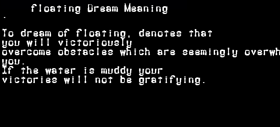 dream meanings floating