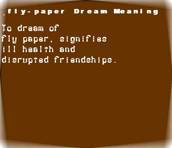dream meanings fly-paper