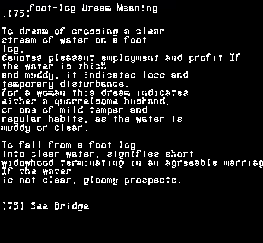dream meanings foot-log