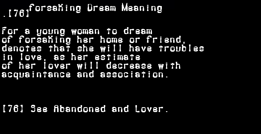 dream meanings forsaking