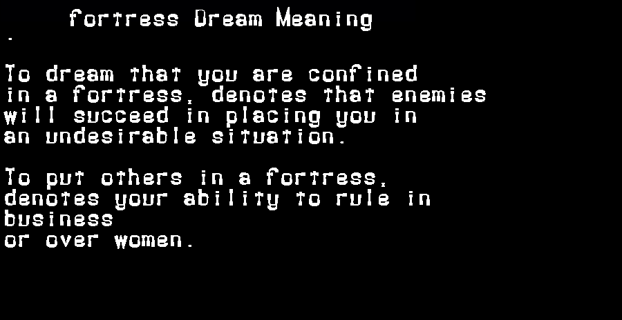 dream meanings fortress