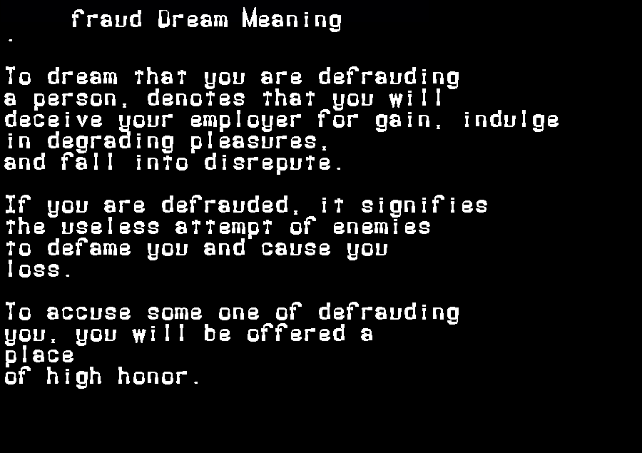dream meanings fraud