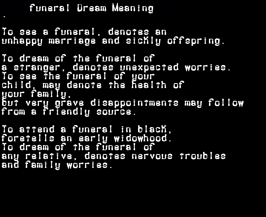 dream meanings funeral