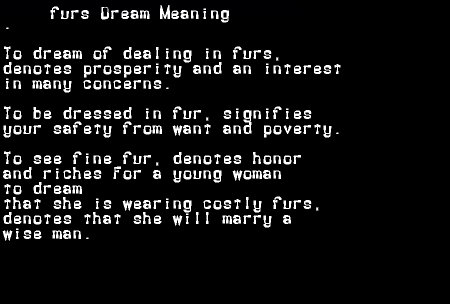 dream meanings furs