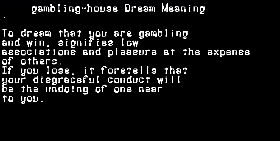 dream meanings gambling-house
