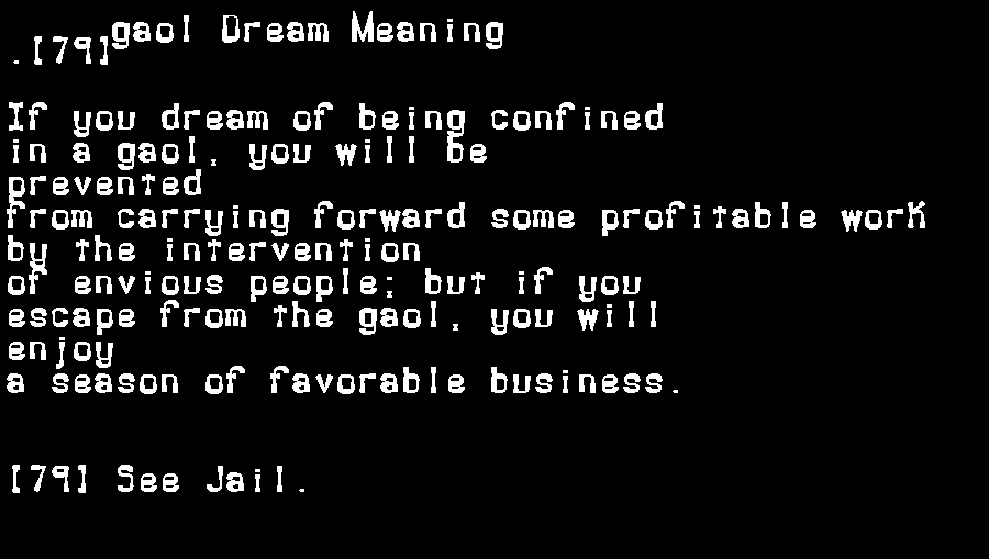 dream meanings gaol