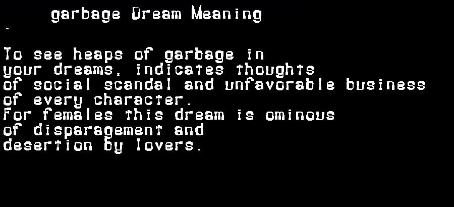 dream meanings garbage