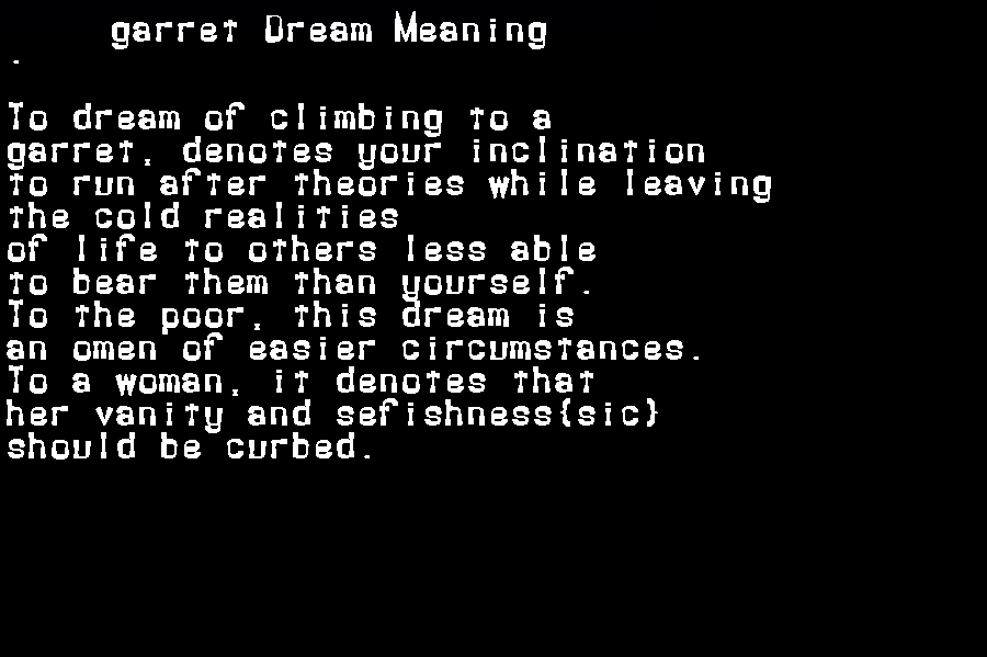 dream meanings garret