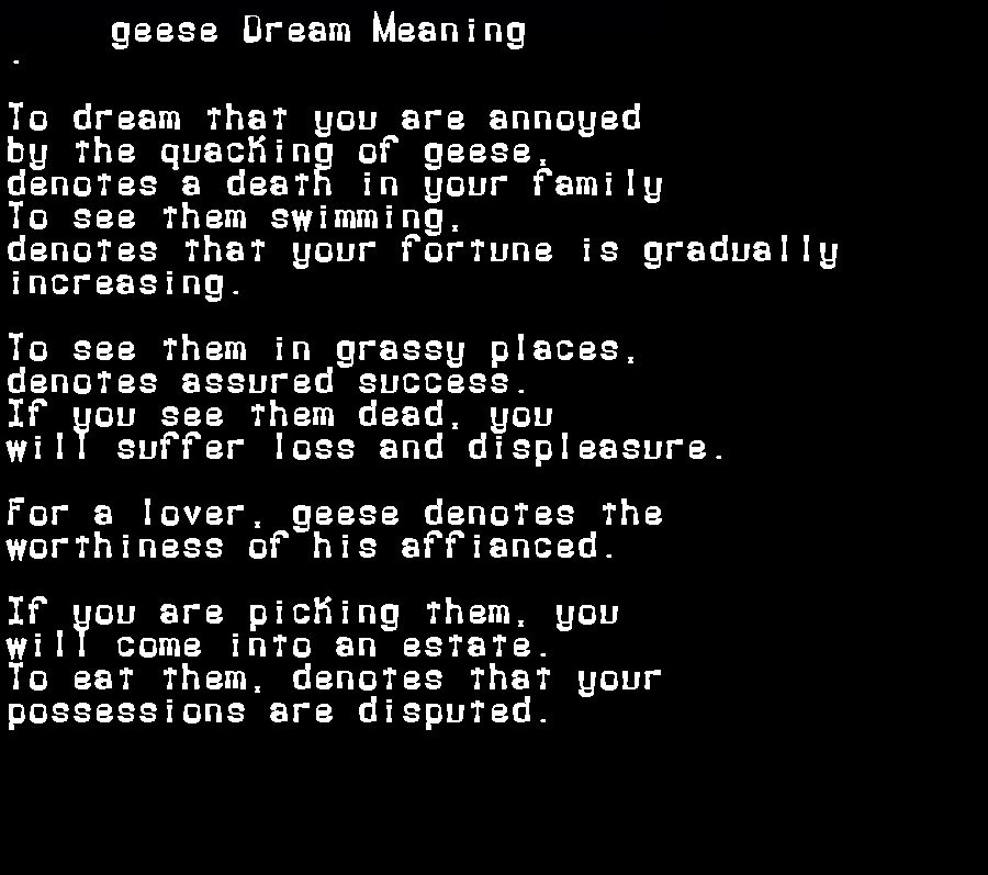 dream meanings geese