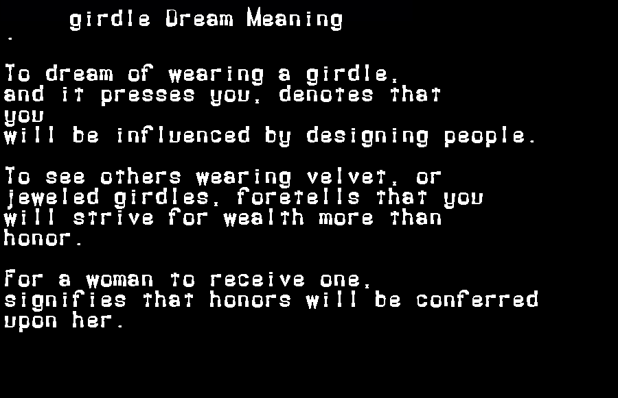 dream meanings girdle