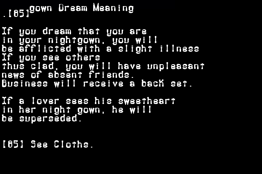 dream meanings gown