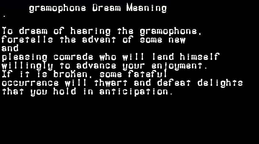 dream meanings gramophone