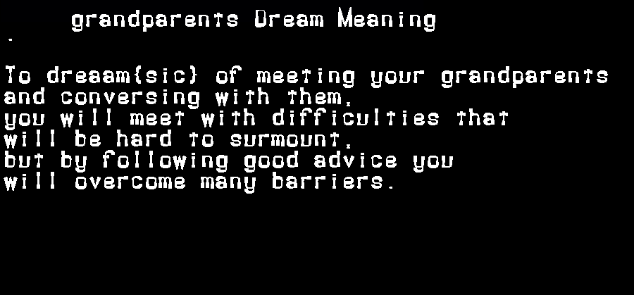 dream meanings grandparents