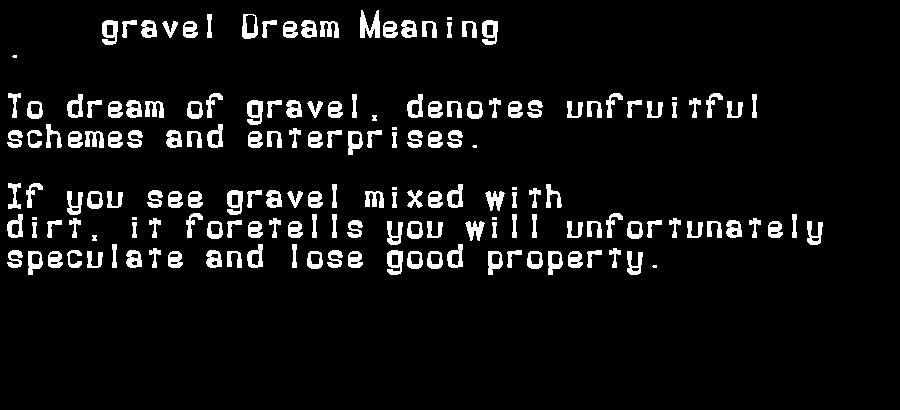 dream meanings gravel