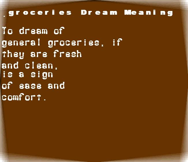 dream meanings groceries