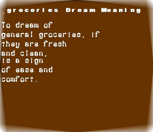 dream meanings groceries