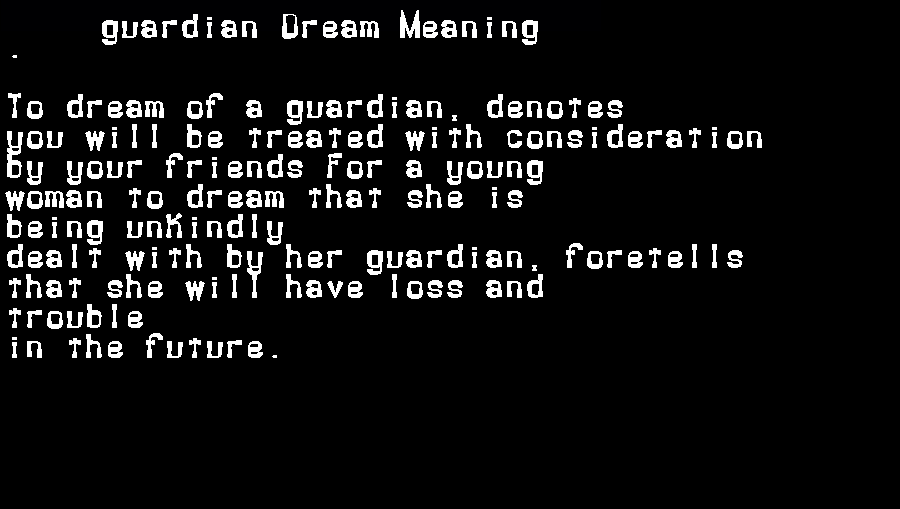 dream meanings guardian