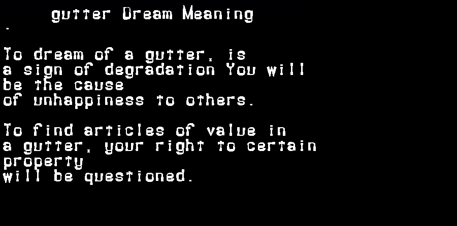 dream meanings gutter