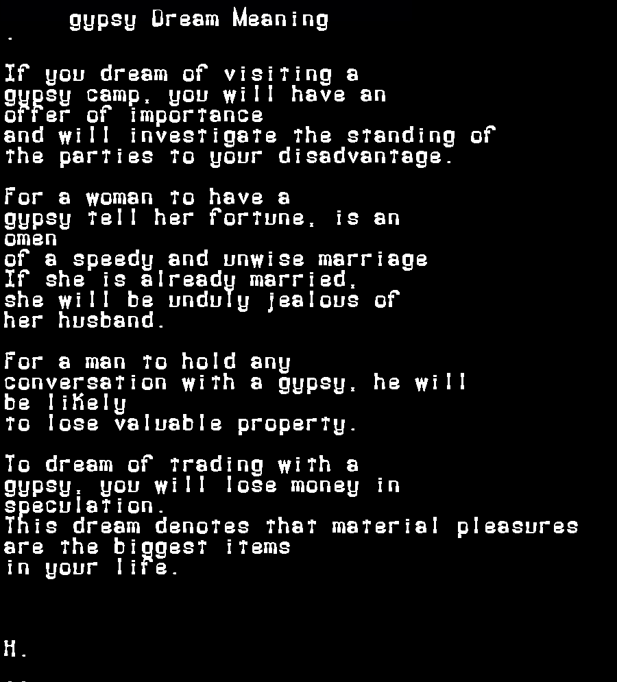 dream meanings gypsy