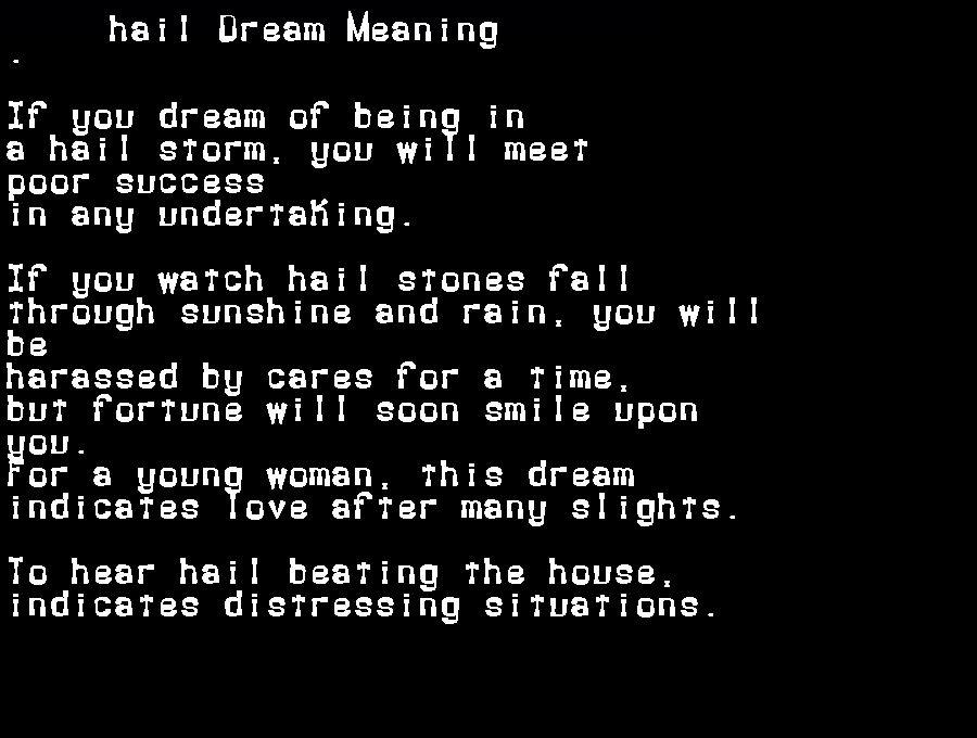 dream meanings hail