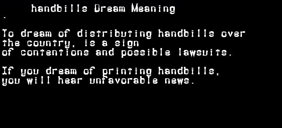 dream meanings handbills
