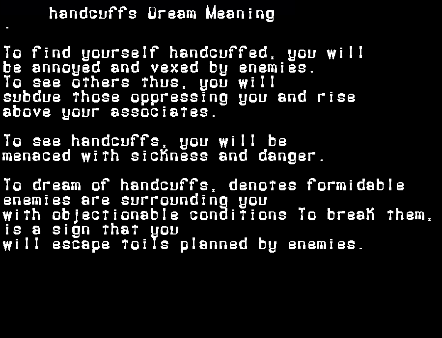 dream meanings handcuffs