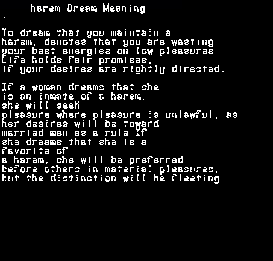 dream meanings harem