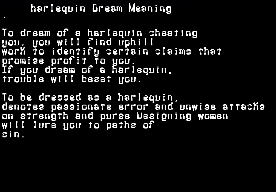 dream meanings harlequin