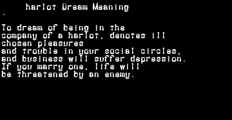 dream meanings harlot