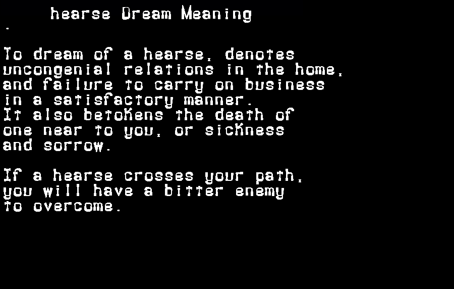 dream meanings hearse