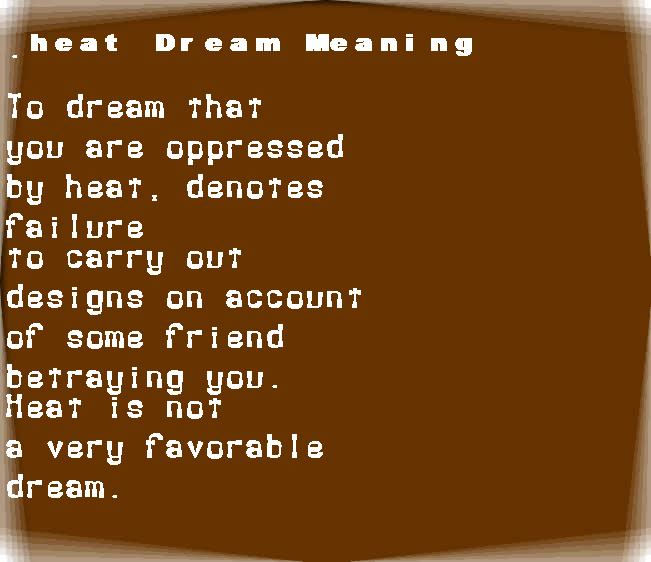 dream meanings heat
