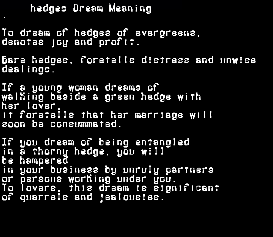 dream meanings hedges