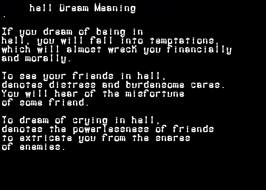 dream meanings hell
