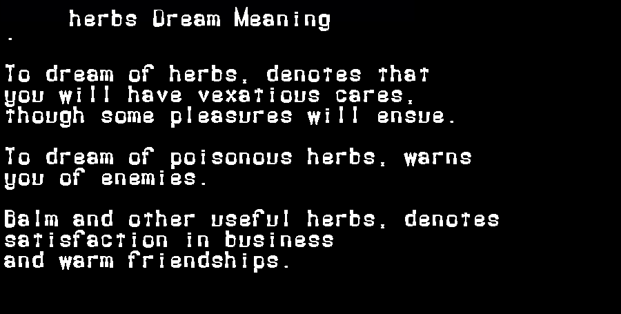 dream meanings herbs