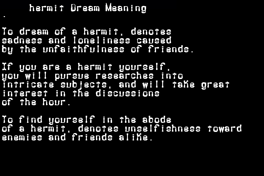 dream meanings hermit