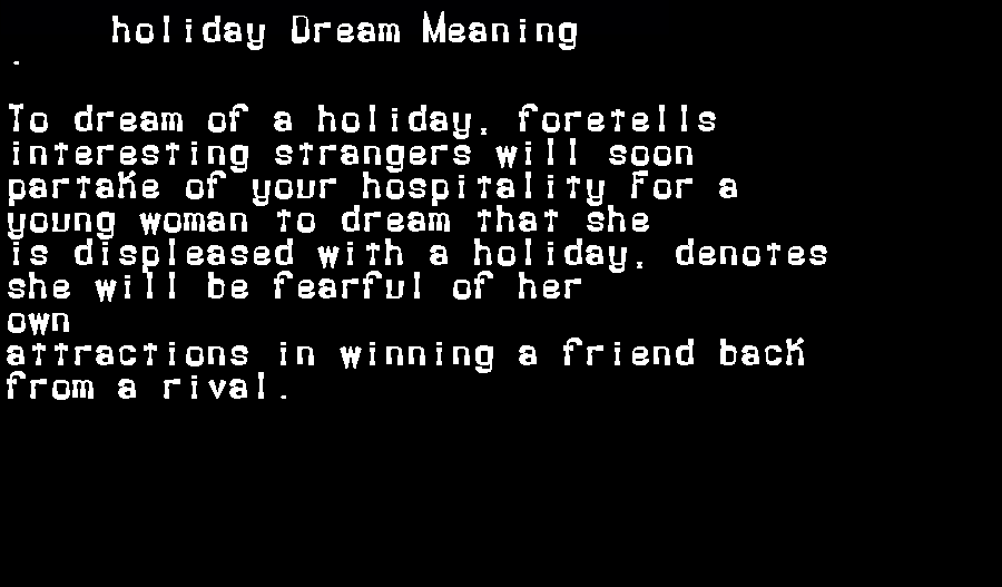 dream meanings holiday
