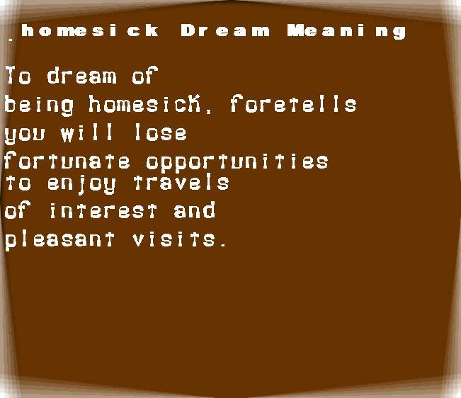 dream meanings homesick