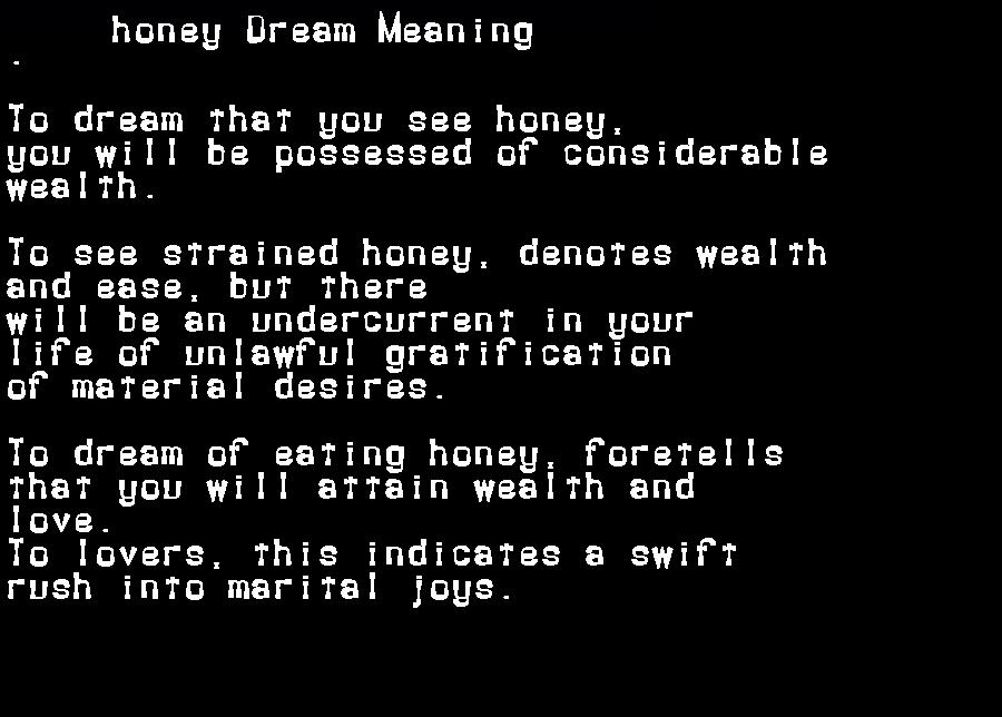 dream meanings honey