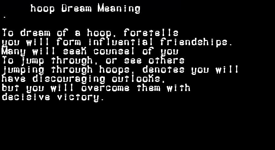 dream meanings hoop