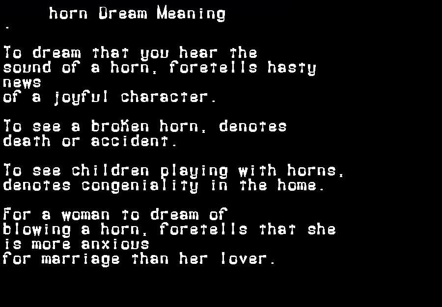 dream meanings horn