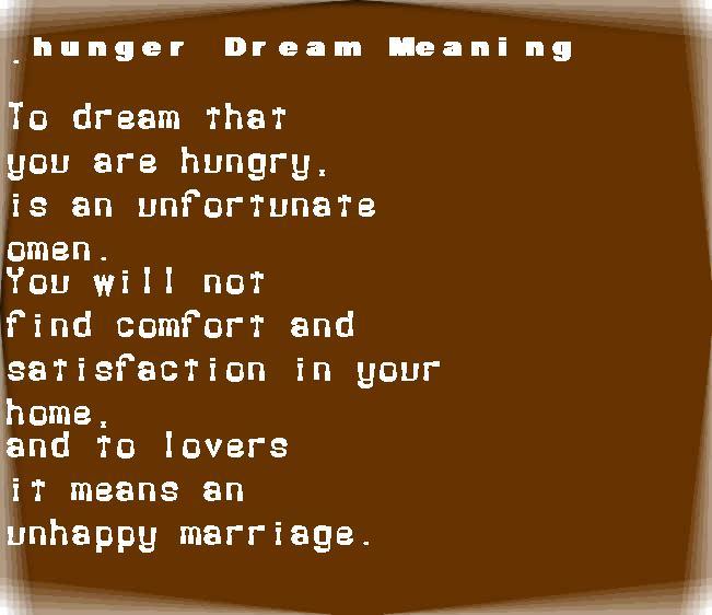 dream meanings hunger