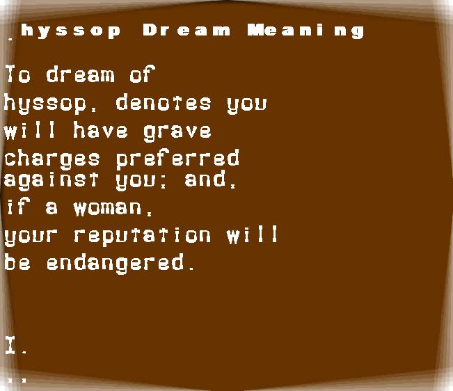 dream meanings hyssop