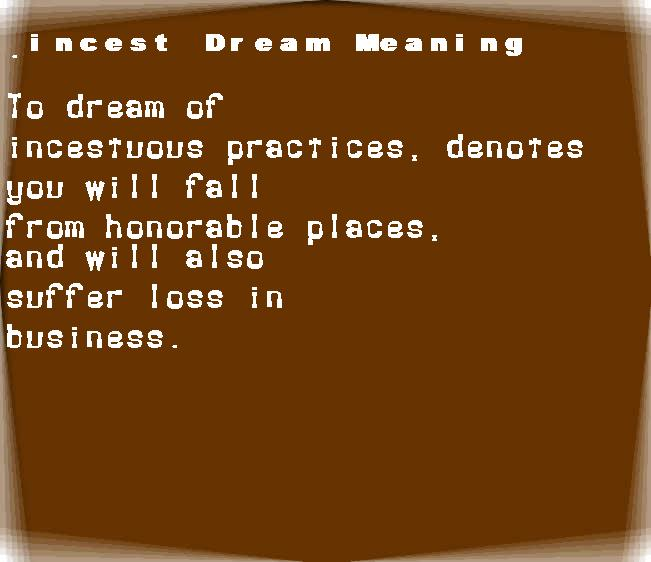 dream meanings incest