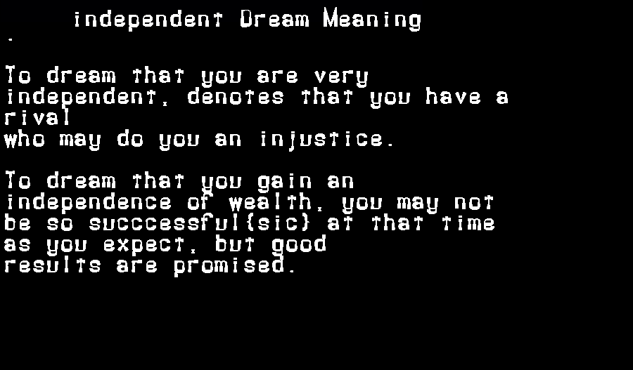 dream meanings independent