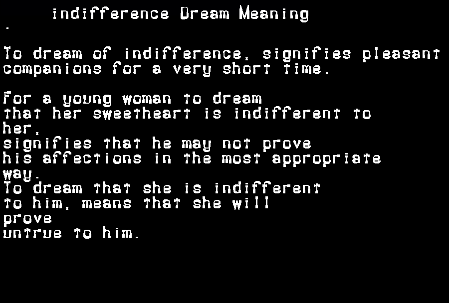 dream meanings indifference