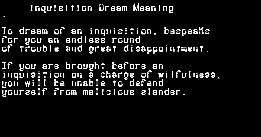 dream meanings inquisition