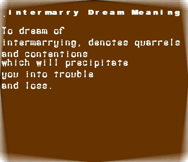 dream meanings intermarry