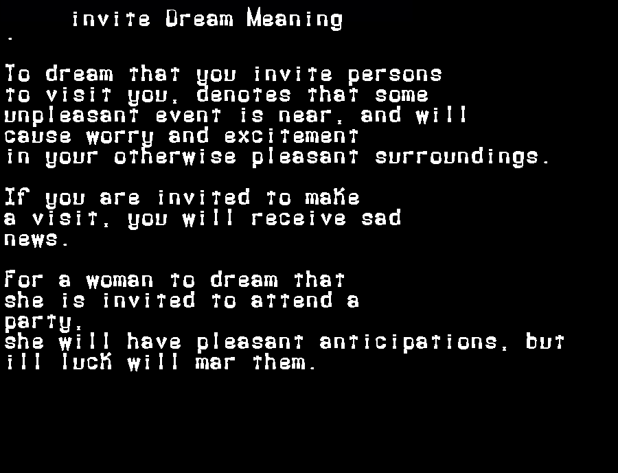 dream meanings invite