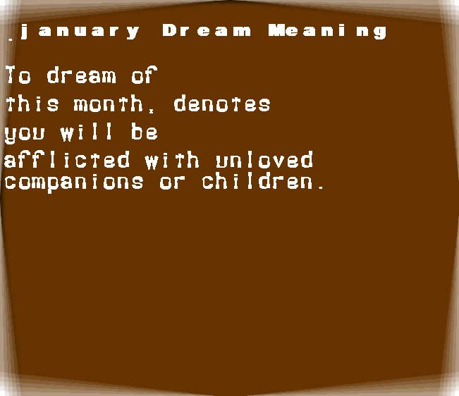 dream meanings january