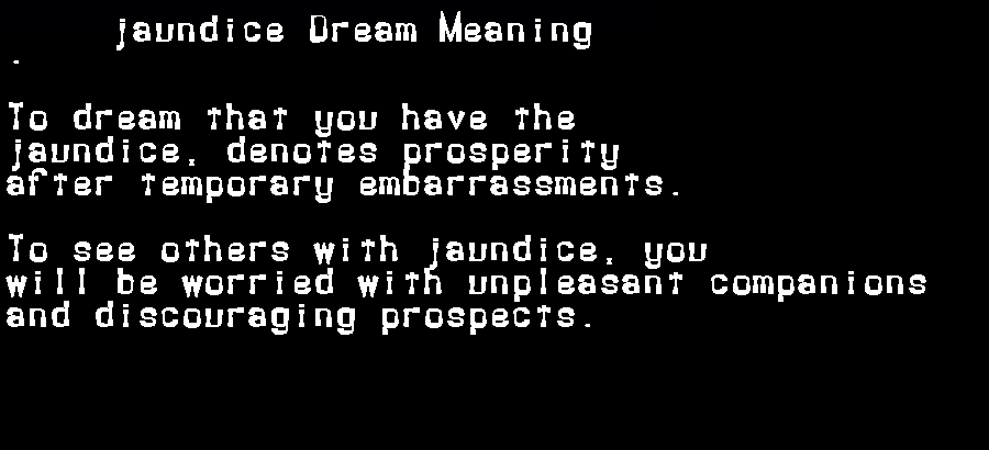 dream meanings jaundice